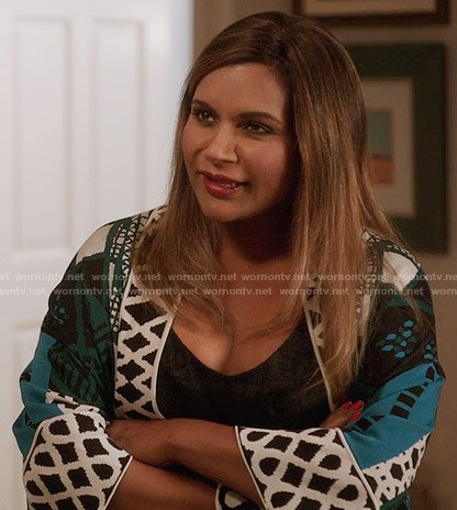Mindy's blue printed robe on The Mindy Project