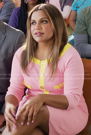 Mindy's pink cardigan with yellow trim on The Mindy Project