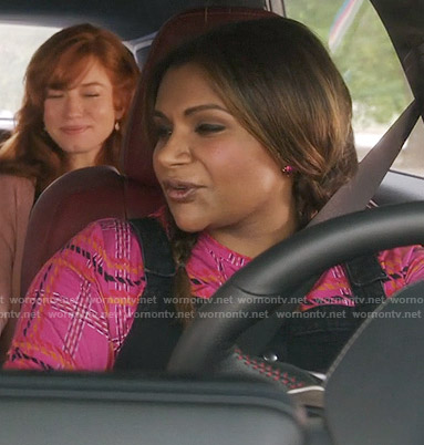 Mindy's pink plaid top and black overall dress on The Mindy Project