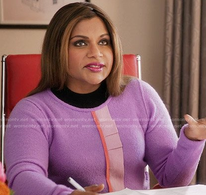 Mindy's purple ruffle front sweater on The Mindy Project