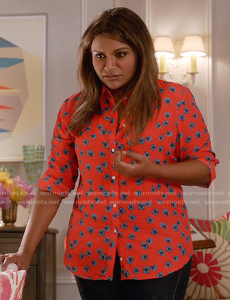 Mindy's red and blue floral print shirt on The Mindy Project