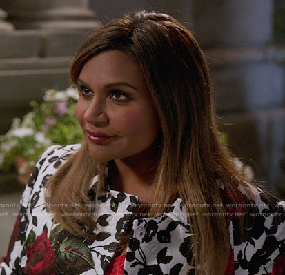 Mindy's rose print coat on The Mindy Project