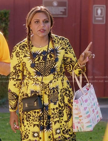 Mindy's yellow printed long sleeve dress on The Mindy Project