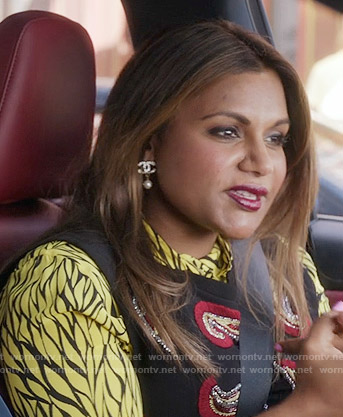 Mindy's yellow printed shirt on The Mindy Project