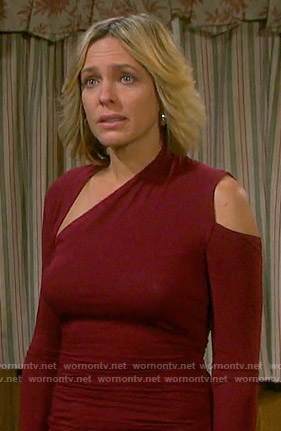 Nicole's red asymmetric cold shoulder top on Days of our Lives