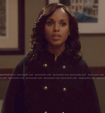 Olivia's black double breasted cape on Scandal