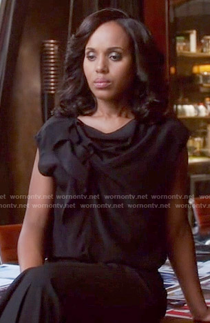 Olivia's black gathered top on Scandal