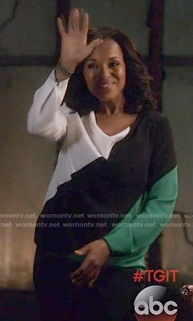 Olivia's black, white and green colorblock blouse on Scandal