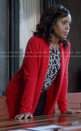 Olivia's black and white printed top and red cardigan on Scandal