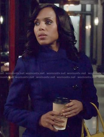Olivia's blue asymmetric coat on Scandal