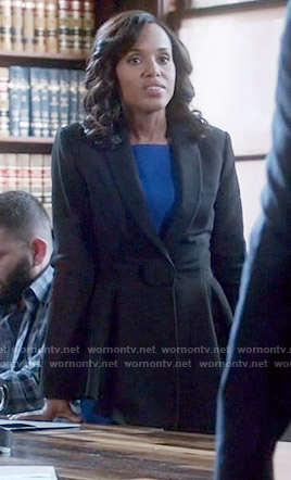Olivia's blue dress and black peplum jacket on Scandal