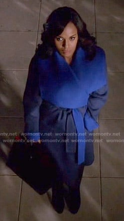 Olivia's blue two tone coat on Scandal
