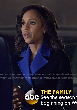 Olivia's black coat with blue lapel on Scandal
