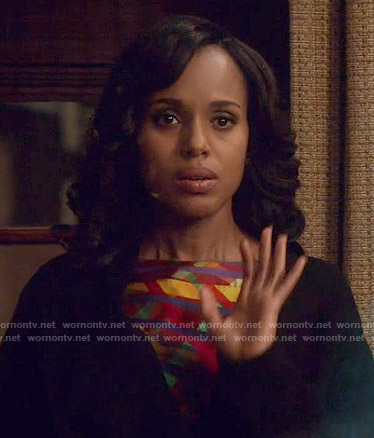 Olivia's multi colored print top on Scandal