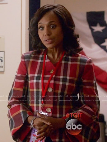 Olivia's red plaid jacket with bell sleeves on Scandal