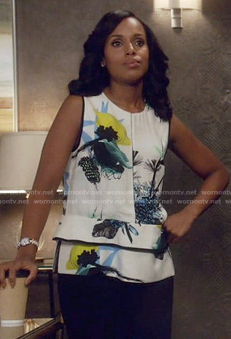 Olivia's white floral layered blouse on Scandal