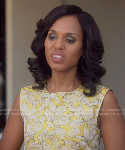 Olivia's yellow leaf print sleeveless top on Scandal