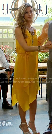 Paige's yellow draped dress on Royal Pains