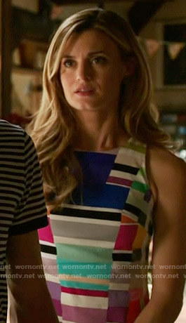 Paige's multi colored stripe print dress on Royal Pains
