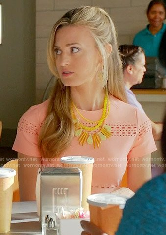Paige's coral short sleeved dress on Royal Pains