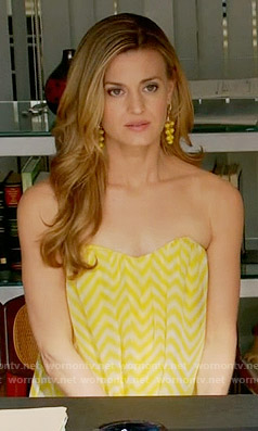 Paige's yellow chevron striped strapless top on Royal Pains