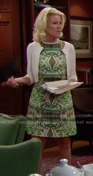 Pam's green printed dress on The Bold and the Beautiful