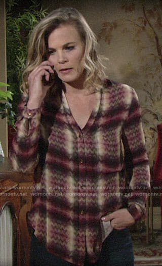 Phyllis's purple and yellow chevron print blouse on The Young and the Restless