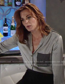 Phyllis's striped colorblock blouse on The Young and the Restless