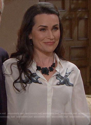 Quinn's white bird print blouse on The Bold and the Beautiful