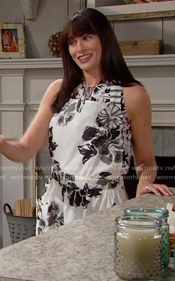 Quinn's black and white floral apron on The Bold and the Beautiful
