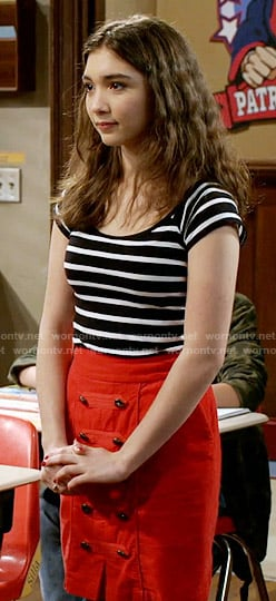 Riley's striped top and red skirt with front buttons on Girl Meets World
