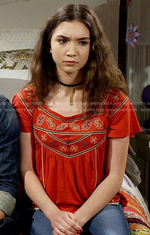 Riley's red embroidered top on Girl Meets World