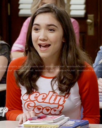 Riley's red Feelin Good tee on Girl Meets World