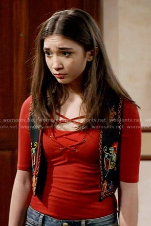Riley's red lace-up top on Girl Meets World