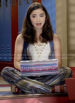 Riley's white lace-up top and striped flared trousers on Girl Meets World