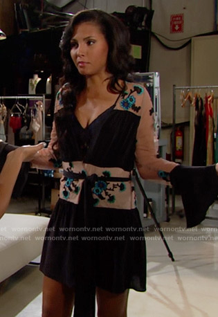 Sasha's floral embroidered robe on The Bold and the Beautiful
