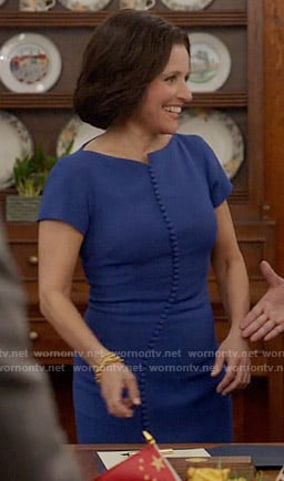 Selina's blue button front dress on Veep