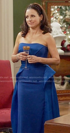 Selina's blue strapless gown on Veep