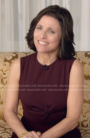 Selina's dark purple twist front dress on Veep