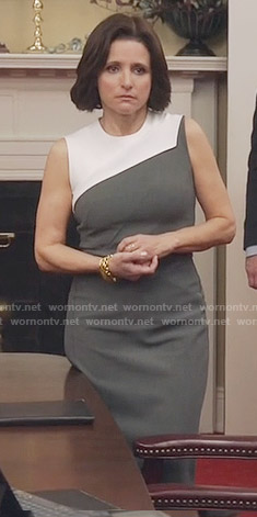 Selina's grey and white dress on Veep