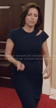 Selina's navy dress with shoulder cutout on Veep