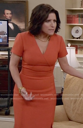Selina's orange v-neck short sleeved dress on Veep
