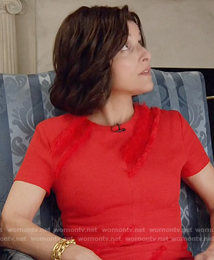 Selina's red fringed dress on Veep