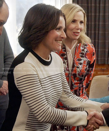 Selina's striped colorblock sweater on Veep