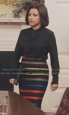 Selina's striped pencil skirt and black tie neck blouse on Veep