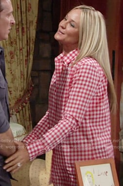 Sharon's red checked shirt on The Young and the Restless
