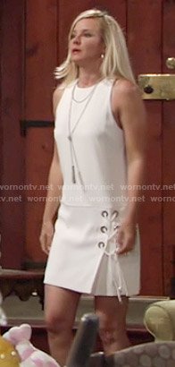 Sharon's white lace-up dress on The Young and the Restless