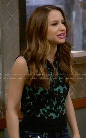 Sofia's green spotted print crop top on Young and Hungry