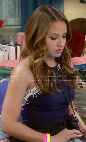 Sofia's navy embroidered peplum top on Young and Hungry