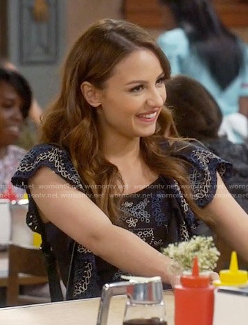 Sofia's black embroidered top on Young and Hungry